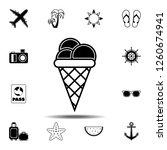 ice cream in waffle cone icon....