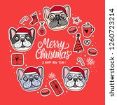 card dogs in merry christmas... | Shutterstock .eps vector #1260723214