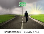 businessman is walking on the... | Shutterstock . vector #126074711