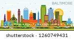 baltimore maryland city skyline ... | Shutterstock . vector #1260749431