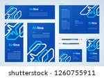 airplane lines theme set flyer...   Shutterstock .eps vector #1260755911