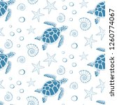 seamless pattern of turtle  sea ... | Shutterstock .eps vector #1260774067