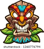 cartoon colorful tiki mask with ... | Shutterstock .eps vector #1260776794