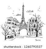 streets of paris sketch  vector ... | Shutterstock .eps vector #1260793537