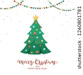 holiday card. christmas tree... | Shutterstock .eps vector #1260801781