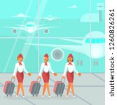 stewardesses characters with...   Shutterstock . vector #1260826261