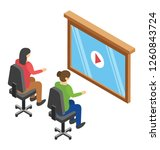 video conference flat icon | Shutterstock .eps vector #1260843724