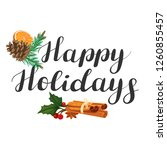 happy holidays. lettering with... | Shutterstock .eps vector #1260855457