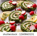 spinach roulade stuffed with... | Shutterstock . vector #1260863131