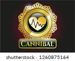 golden emblem with heart with... | Shutterstock .eps vector #1260875164
