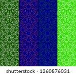set of modern floral seamless... | Shutterstock .eps vector #1260876031