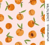 apricot seamless pattern. hand... | Shutterstock .eps vector #1260876784