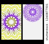 relax cards with mandala formed ... | Shutterstock .eps vector #1260877501