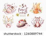 Stock photo cute baby animal nursery mouse rabbit and bear isolated illustration for children watercolor boho 1260889744