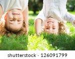 happy children playing outdoors ... | Shutterstock . vector #126091799