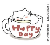 cat sleeping in a coffee cup....   Shutterstock .eps vector #1260925357
