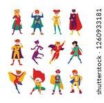 collection of kids superheroes. ... | Shutterstock .eps vector #1260933181