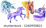 cute unicorn horse. fairytale... | Shutterstock . vector #1260950821
