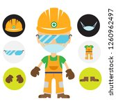 workers wear safety goggles and ... | Shutterstock .eps vector #1260962497