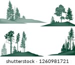 illustration with fir trees set ... | Shutterstock .eps vector #1260981721
