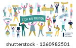 people protesting with demands... | Shutterstock .eps vector #1260982501