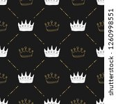 crown seamless pattern  hand... | Shutterstock .eps vector #1260998551