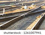the rails turn  the rails and...   Shutterstock . vector #1261007941