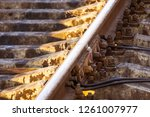 the rails turn  the rails and...   Shutterstock . vector #1261007977