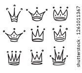 hand drawn crowns logo set... | Shutterstock .eps vector #1261011367