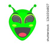 alien face emoji. alien green...   Shutterstock .eps vector #1261016827