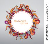 red  coral and orange tentacles ... | Shutterstock .eps vector #1261018774