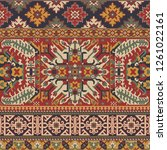 caucasian style antique rug... | Shutterstock .eps vector #1261022161