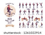 stylish middle aged man with... | Shutterstock .eps vector #1261022914