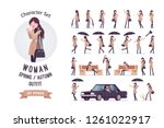 stylish attractive woman with... | Shutterstock .eps vector #1261022917