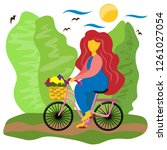 the girl rides a bicycle with a ...   Shutterstock .eps vector #1261027054