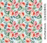seamless pattern wild pink... | Shutterstock . vector #1261028431