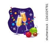 christmas glass of champagne. ...   Shutterstock .eps vector #1261029781