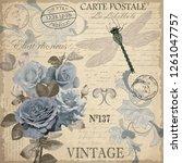 vintage postcard flowers. | Shutterstock .eps vector #1261047757