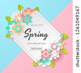 spring sale background with...   Shutterstock .eps vector #1261049167