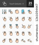touch gestures filled line icons | Shutterstock .eps vector #1261054447