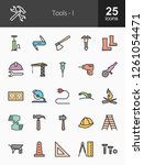 tools filled line icons | Shutterstock .eps vector #1261054471