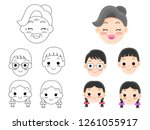 set of  face people concept ... | Shutterstock .eps vector #1261055917