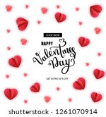 valentine's day sale. offer ... | Shutterstock .eps vector #1261070914