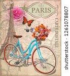 vintage postcard with eiffel... | Shutterstock .eps vector #1261078807