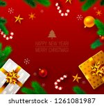 vintage christmas and new year... | Shutterstock .eps vector #1261081987