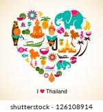 thailand love   heart with thai ... | Shutterstock .eps vector #126108914