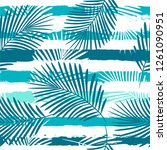 tropical pattern  palm leaves... | Shutterstock .eps vector #1261090951