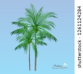 vector of palm tree icons on... | Shutterstock .eps vector #1261124284