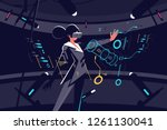 woman in vr glasses working... | Shutterstock .eps vector #1261130041