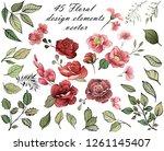 flower design elements. elegant ...   Shutterstock .eps vector #1261145407